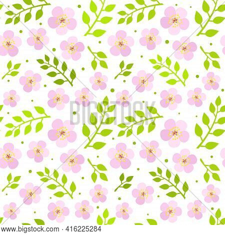 Seamless Pattern Of Blooming Cherry Flowers And Green Twigs. Background Of Hand Drawn Pink Flowers A