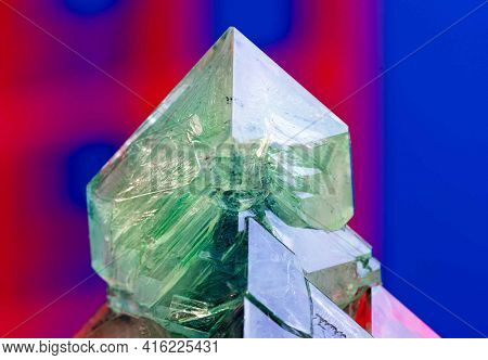 green crystal mineral Green crystal of natural origin. Natural geological material for use in technology and jewelry