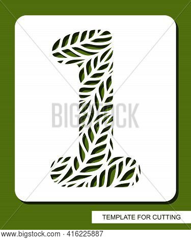 Stencil With The Number One - 1. Carved Floral Pattern Of Leaves, Twigs. Eco Sign, Number, Oval Symb
