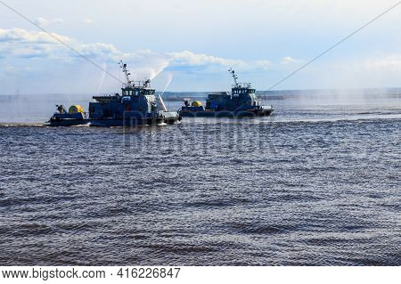 Extinguishing A Burning Ship During Naval Exercises