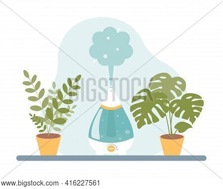 Humidifier On The Table With Indoor Plants. Vector Illustration In A Flat Cartoon Style On A White B