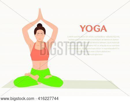 Woman Practicing Yoga Fitness Gymnastics. Banner With Illustration Of Woman Doing Yoga Asana Or Pila