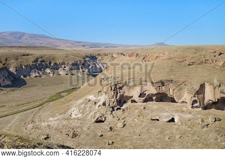 Panoramic View Onto Gorge Surrounding Medieval Ghost Town Ani, Near Kars, Turkey. There Are Remains