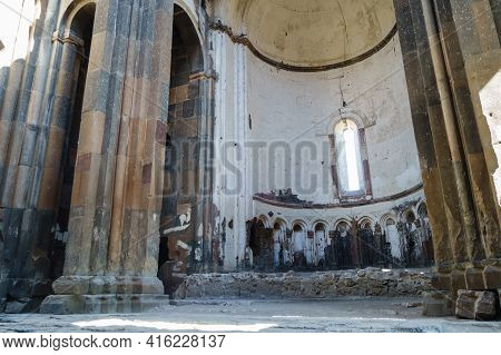 Remains Of Interior Of Cathedral Of Ani, With Its Columns, Archs & Altar, Medieval City Ani, Near Ka