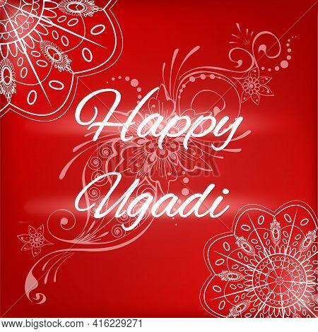 Happy Ugadi, Hindu New Year Festival Greeting. Ethnic Indian White Kolam Rangoli Style Mandalas, Flo