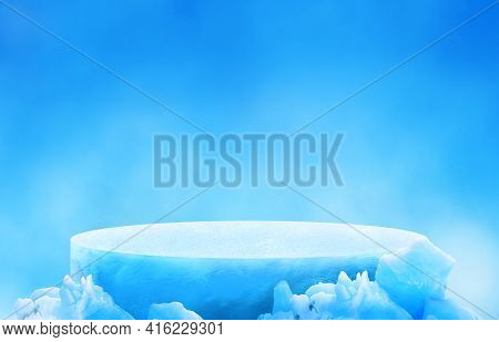 Ice Podium For Mockup Display Or Presentation Of Products. Advertising Theme Concept.
