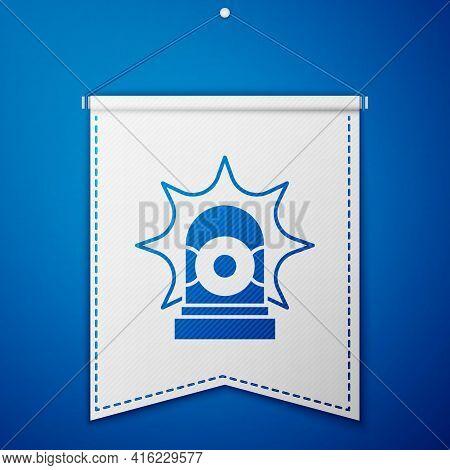 Blue Flasher Siren Icon Isolated On Blue Background. Emergency Flashing Siren. White Pennant Templat