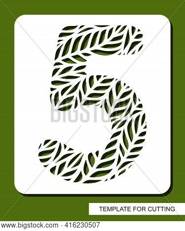 Stencil With The Number Five - 5. Carved Floral Pattern Of Leaves, Twigs. Eco Sign, Number, Oval Sym