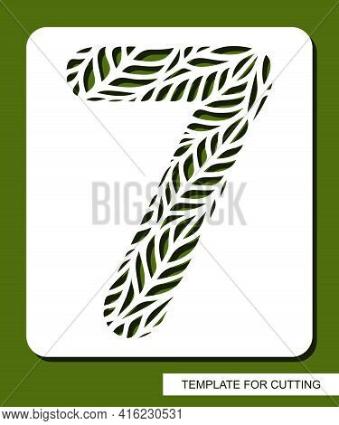 Stencil With The Number Seven - 7. Carved Floral Pattern Of Leaves, Twigs. Eco Sign, Number, Oval Sy