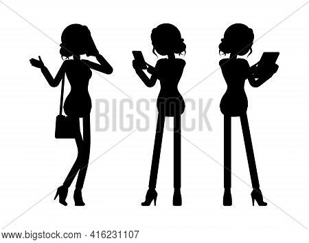 Businesswoman Silhouette, Office Worker With Phone, Tablet. Administrative Manager Person, Corporate
