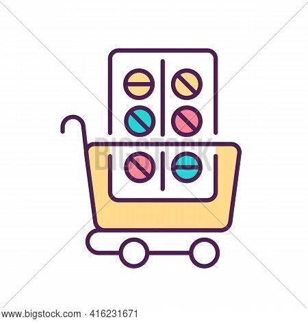 Prescription Drug Purchase Rgb Color Icon. Medications Placing In Shopping Cart. Buying Pharmaceutic