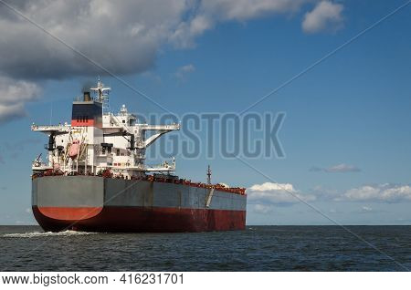 Maritime Transport - A Merchant Vessel Sails To The Sea