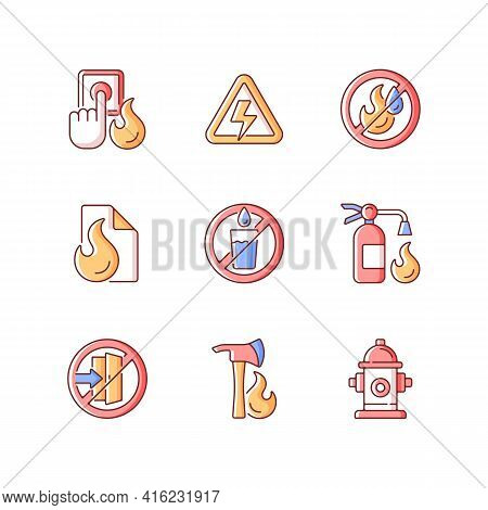 Fire Emergency Rgb Color Icons Set. Alarm Button. High Voltage. Use No Water. Fire Blanket, Extingui