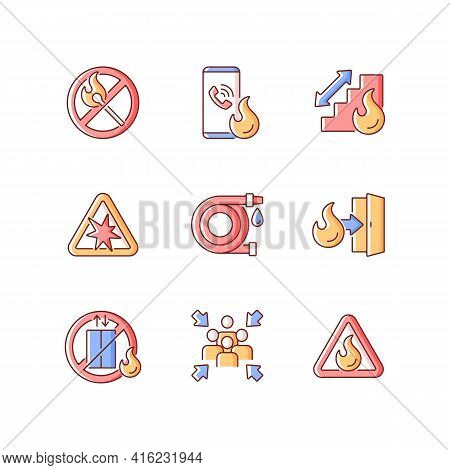 Fire Safety Guidelines Rgb Color Icons Set. No Open Flame. Explosion Risk. Escape Exit. Do Not Use E