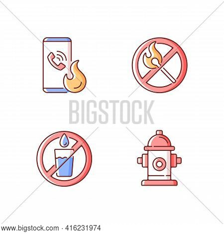 Emergency Instructions For Fire Safety Rgb Color Icons Set. Call In Case Of Emergency. No Open Flame