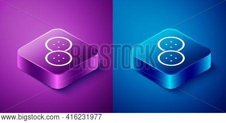 Isometric Sewing Button For Clothes Icon Isolated On Blue And Purple Background. Clothing Button. Sq
