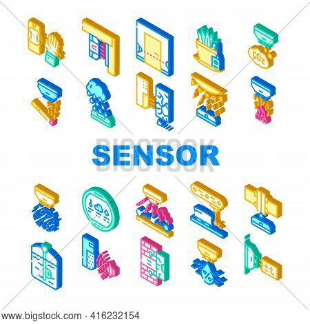 Sensor Electronic Tool Collection Icons Set Vector. Motion And Vibration, Beam And Humidity, Plant W