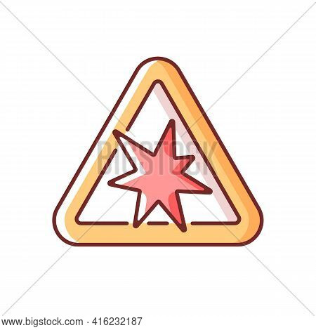 Risk Of Explosion Rgb Color Icon. Warning Label For Dangerous Manufacture. Security Rules For Chemic