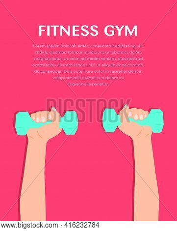 Woman Doing Fitness Exercises. Pretty Fitness Girl With Dumbbells. Athletic Woman Holding Dumbbells.