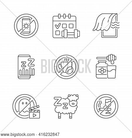 Insomnia Reasons Linear Icons Set. No Device Before Bedtime. Sleep Hygiene Improvement. Regular Exer