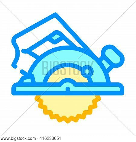 Circular Saw Color Icon Vector. Circular Saw Sign. Isolated Symbol Illustration