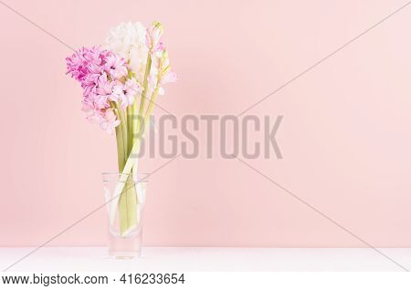 Soft Light Exquisite Pink Hyacinth Flowers In Glass Vase On White Wood Table, Romantic Springtime Ba