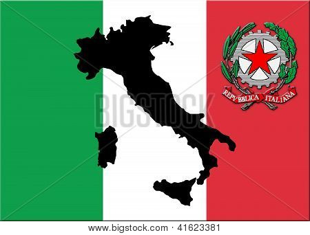 black map of Italy on a national colours of flag