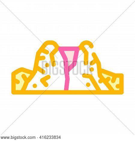 Caldera Volcano Color Icon Vector. Caldera Volcano Sign. Isolated Symbol Illustration