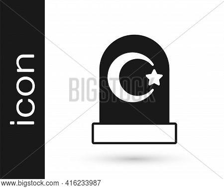 Black Muslim Cemetery Icon Isolated On White Background. Islamic Gravestone. Vector