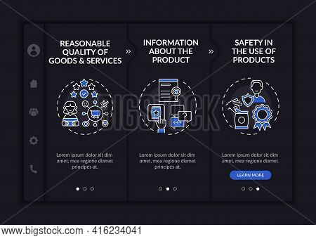 Key Buyer Rights Onboarding Vector Template. Responsive Mobile Website With Icons. Web Page Walkthro