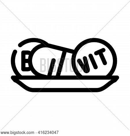 Vitamins Diet Line Icon Vector. Vitamins Diet Sign. Isolated Contour Symbol Black Illustration