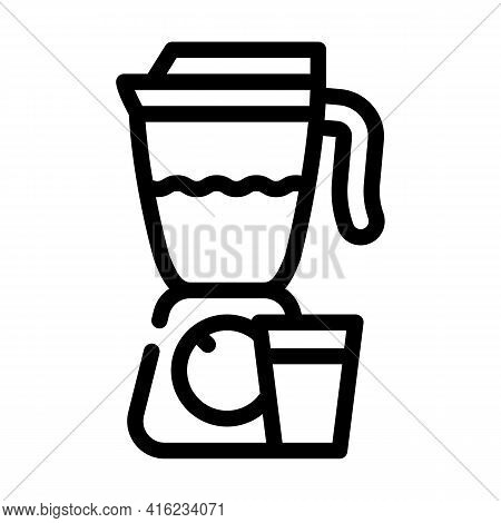 Smoothie Drink Line Icon Vector. Smoothie Drink Sign. Isolated Contour Symbol Black Illustration