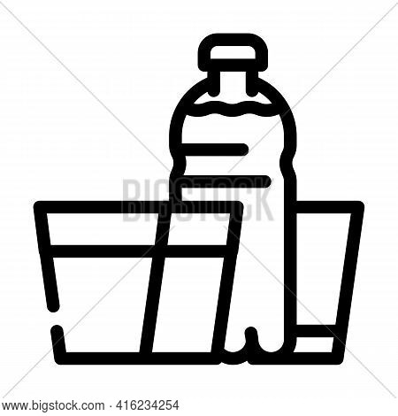 Daily Water Intake Line Icon Vector. Daily Water Intake Sign. Isolated Contour Symbol Black Illustra