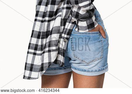 Blue denim shorts pocket for youth apparel shoot