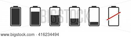Battery Icons. Battery Charge Indicator Icons. Phone Charge Level. Full Low And Empty Battery Status