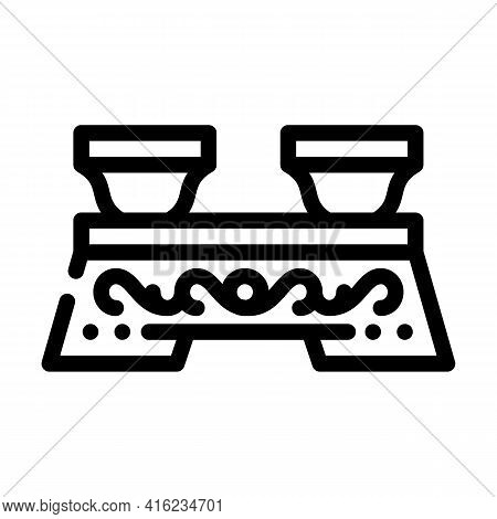 Ceremony Tea Drink Table Line Icon Vector. Ceremony Tea Drink Table Sign. Isolated Contour Symbol Bl