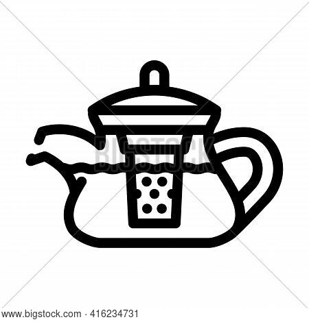 Teapot For Boiling Tea Line Icon Vector. Teapot For Boiling Tea Sign. Isolated Contour Symbol Black
