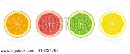 Citrus Fruit Slices Of Orange, Grapefruit, Lime And Lemon Isolated On White Background