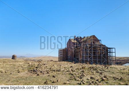 Panoramic View Onto Restoring Building Of Main Cathedral In Medieval Ghost Town Ani, Kars, Turkey. B