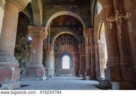 Interior Of Ancient Seljuk Mosque Of Manuchihr In Medieval City Ani, Near Kars, Turkey. Colonnade Ma