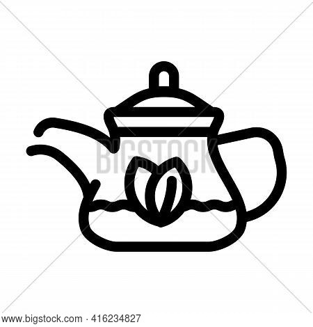 Green Tea In Teapot Line Icon Vector. Green Tea In Teapot Sign. Isolated Contour Symbol Black Illust