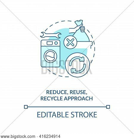 Reduce, Reuse, Recycle Approach Concept Icon. E-waste Reduction Initiative Idea Thin Line Illustrati