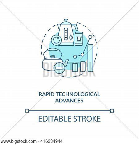 Rapid Technological Advances Concept Icon. E-waste Manage Challenge Idea Thin Line Illustration. Tec