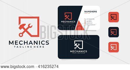 Modern Mechanical Tool Logo Design Vector Set For Engineer Branding. Logo Can Be Used For Icon, Bran