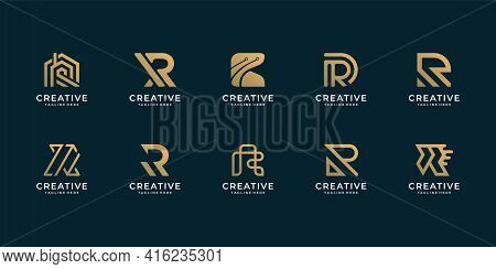 Set Of Letter R Logo Design Collection For Company Branding. Logo Can Be Used For Icon, Brand, Ident