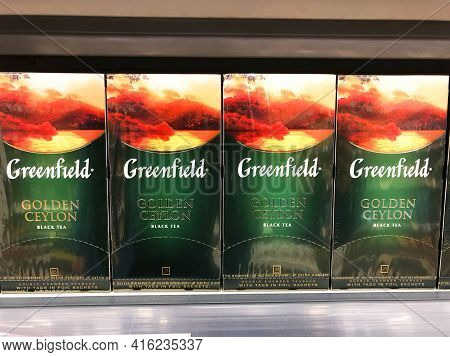 Greenfield Golden Ceylon Black Tea In Box Bags, In A Supermarket Shelf Close Up, Russia, Saint-peter