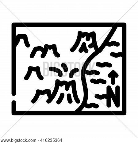 Volcano Map Line Icon Vector. Volcano Map Sign. Isolated Contour Symbol Black Illustration