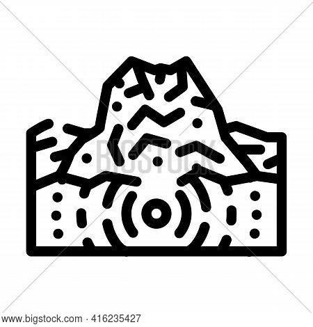 Earthquake Volcano Line Icon Vector. Earthquake Volcano Sign. Isolated Contour Symbol Black Illustra