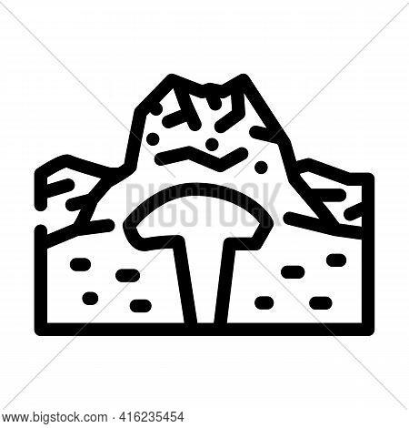 Lava Dome Line Icon Vector. Lava Dome Sign. Isolated Contour Symbol Black Illustration