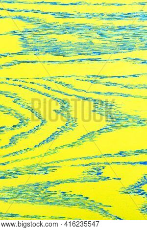 The Wood Texture Is A Bright Yellow Painted Board With Embossed Blue Veins On The Entire Surface. Ve